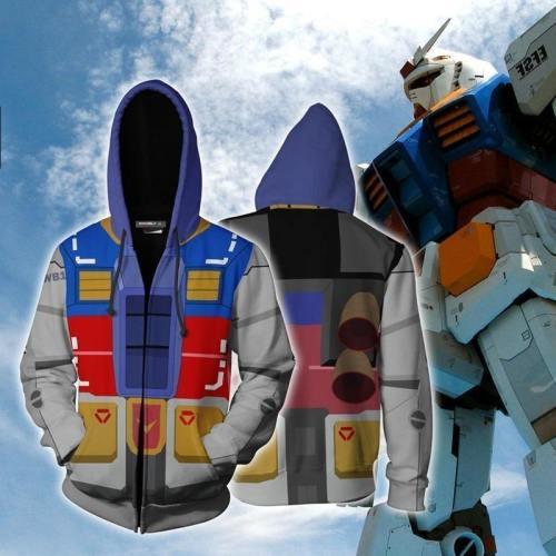 3D Printing Mobile Suit Gundam Anime Hero Cosplay Sweatshirt Hoodie Men Top Sweater Zip Hoodie Gundam Cosplay Costume