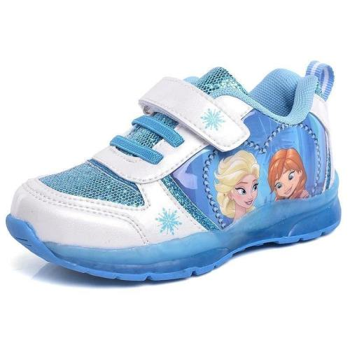 Girls Frozen Elsa Anna Blue Princess Soft Breathable Sneaker With Led Light Spring Autumn Student Casual Shoes