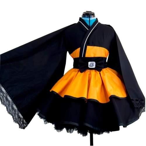 Naruto Shippuden Uzumaki Naruto Female Lolita Kimono Dress Anime Cosplay Costume