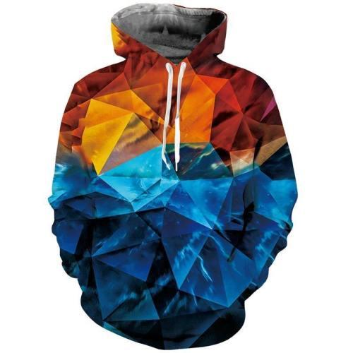 Mens Hoodies 3D Printing Geometric Printed Winter Hoodies Tracksuits