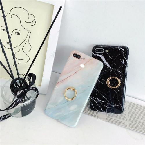 Marble Ombre Rainbow Pink Phone Case With Kickstand Ring Holder