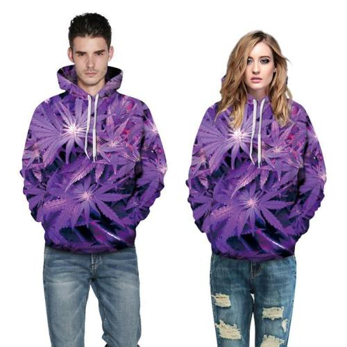 3D Print Hoodie - Purple Weed Leaf Print Pullover Hoodie Css021