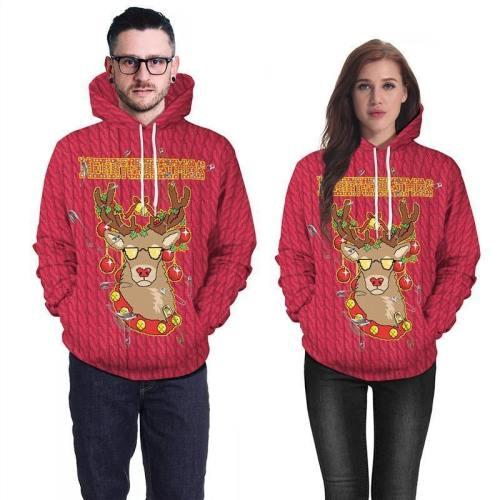Mens Red Hoodies 3D Graphic Printed Merry Christmas Cool Deer Pullover