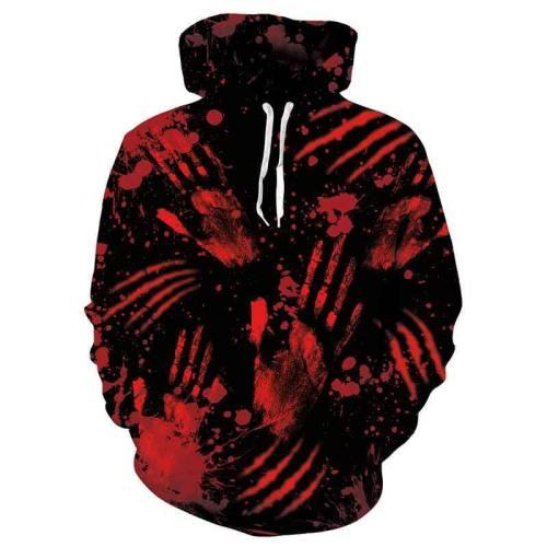 Mens Hoodies 3D Printed Red Halloween Pattern Printing Hoodies