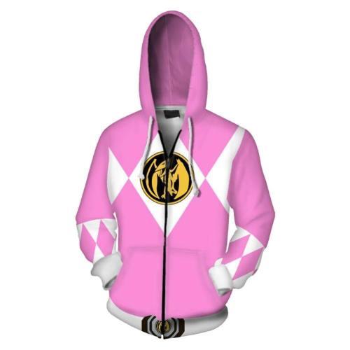 Unisex Pink Ranger Hoodies Power Rangers Zip Up 3D Print Jacket Sweatshirt