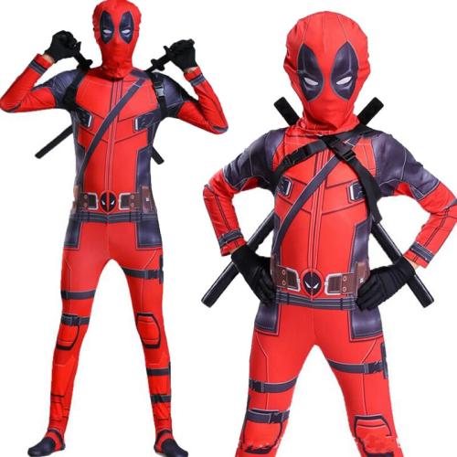 Kids Adults Deadpool 2 Cosplay Jumpsuit Bodysuit Halloween Costumes