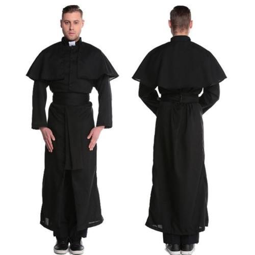 Halloween Costumes For Men Priest Set Abbey Priest Men'S Set Priest Black Cosplay Stage Carnival Set Xl