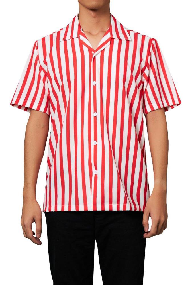 Men'S Hawaiian Shirt Red Stripes Printing