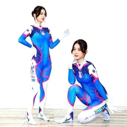 Overwatches Lady Dva Halloween Costume Women Girls Bodysuit Cosplay