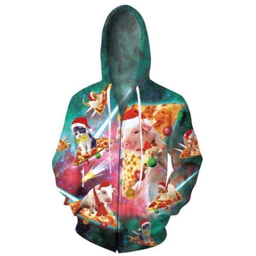 Mens Zip Up Hoodies Pizza Pig 3D Graphic Printing Hoody