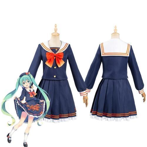 Vocaloid Hatsune Miku Women Sailor Suit Long Sleeve Uniform Skirts Halloween Carnival Outfit Cosplay Costume