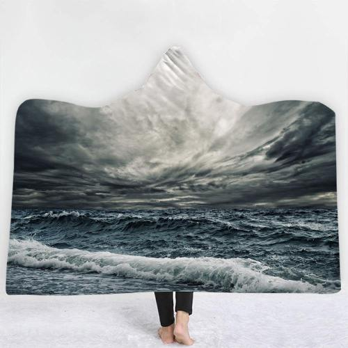 Nature'S Raging Storm Hooded Blanket