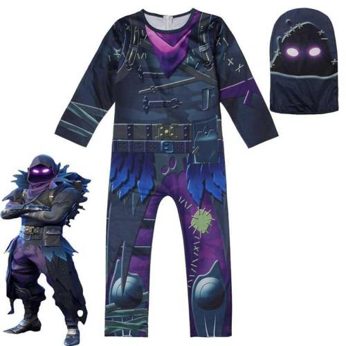 Fortnite Raven Merry Marauder Halloween Zentai Jumpsuit Cosplay Costume