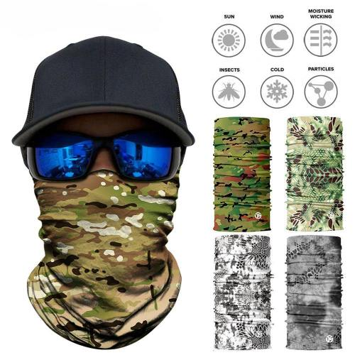 Seamless 3D Camouflage Neck Gaiter Face Shield Mask