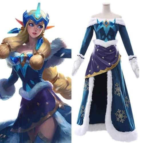 League Of Legends Soraka Snowdown Skin Outfit Cosplay Costume Female
