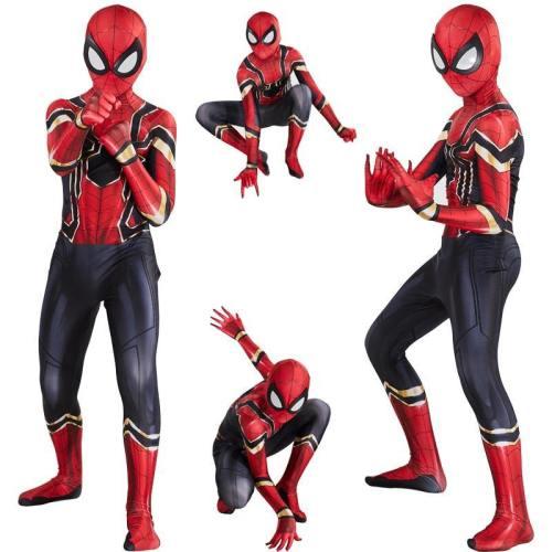 Kids Iron Spiderman Costume Cosplay Superhero Halloween Jumpsuit