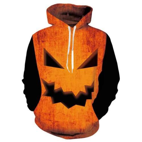 Mens Hoodies 3D Printed Halloween Pumpkin Printing Hoodies