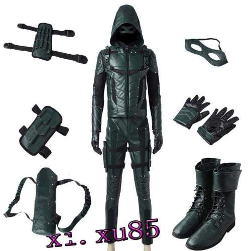 Green Arrow Season 5 Oliver Queen Cosplay Costume Full Suit Custom Any Size