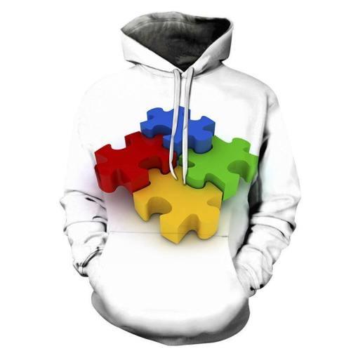 Autism Colors 3D - Sweatshirt, Hoodie, Pullover -Support Autism Awareness Movement