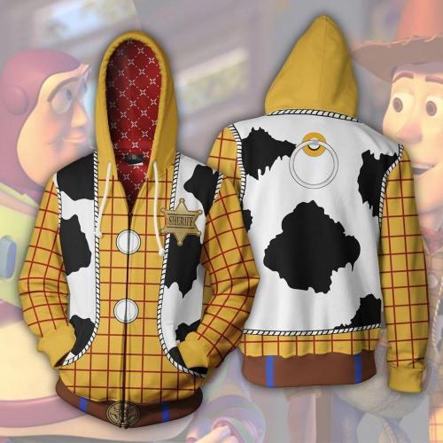 Woody Zip Up Hoodies Sweatshirt Long Sleeve Cowboy Woody Cosplay Costumes 3D Printed Hooded Sweatshirts Jacket Coat Sweater