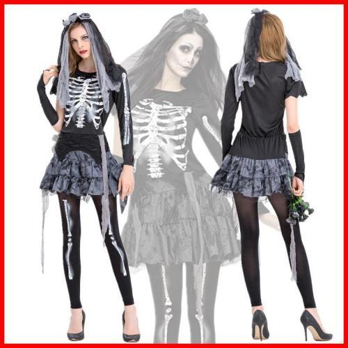 Halloween Ghost Bride Dress Skull Costume Women Cosplay