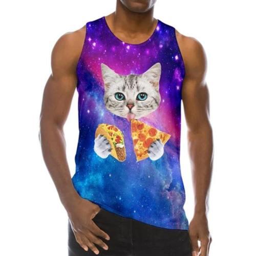 Mens Tank Tops 3D Printing Pizza Cat Printed Vest
