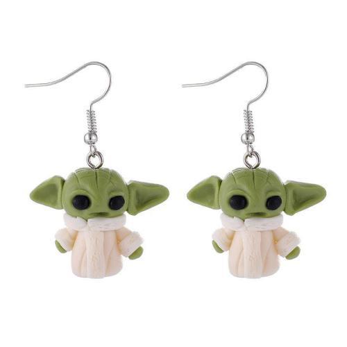 Fashion Handmade Soft Stud 3D Cute Cartoon Baby Yoda Grogu Earrings