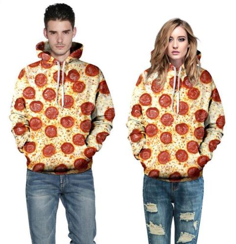 Mens Hoodies 3D Printed Pizza Party Printing Hooded