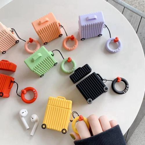 Pastel Travel Trunk Case Silicone Apple Airpods Protective Case Cover With Finger Ring