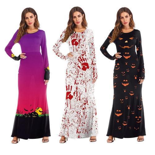 Halloween Party Long Dress Pumpkin Costume For Women And Girls