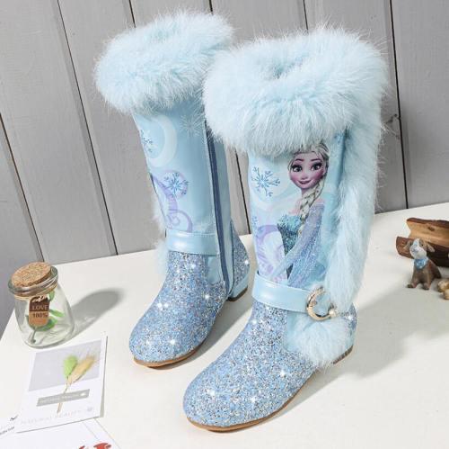 Princess Elsa Kids Girls Winter Pink Blue Wool Leather Boots Shoes