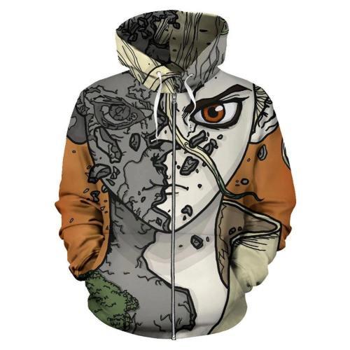 Unisex Dr.Stone Hoodies Ishigami Senku Printed Zip Up Jacket Sweatshirt