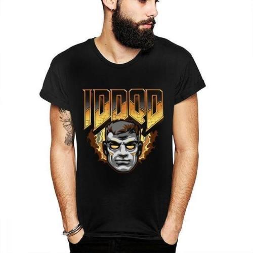 Doom Vintage Men Cartoon Cotton Short Sleeve Plus Size Cool T-Shirt