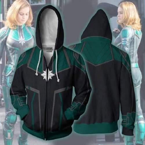Captain Marvel Hoodie - Carol Danvers Zip Up Hoodie