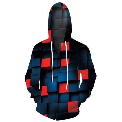 Mens Zip Up Hoodies 3D Printed 3D Geometric Printing Hooded