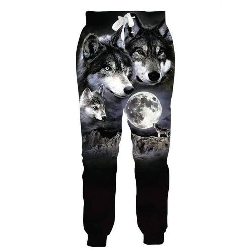 Mens Jogger Pants 3D Printing Wolf Face Pattern Trousers