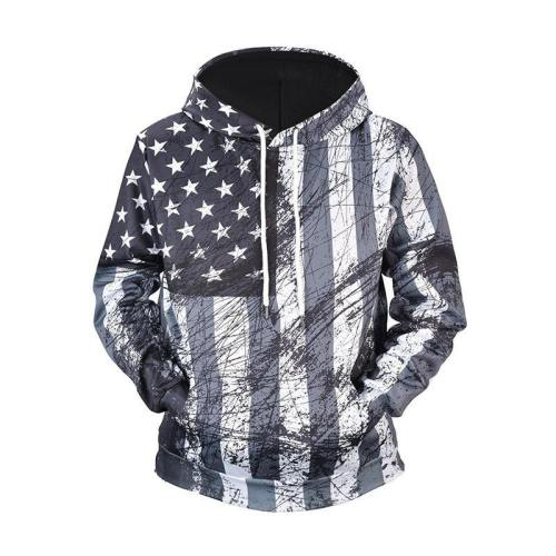 Exclusive: Usa Black And White American Flag Hoodie