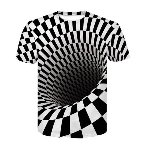 Mens T Shirt 3D Printing Vortex Stripe Print Tee