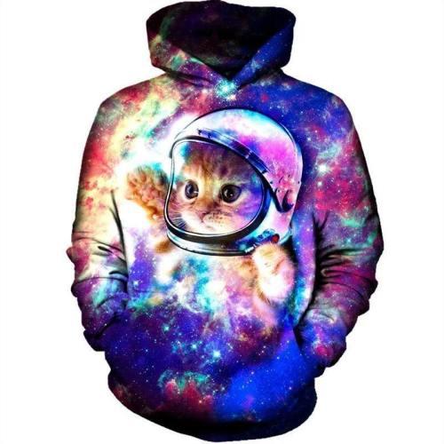 Mens Hoodies 3D Printing Astronaut Cat Printed Winter Hoodies Tracksuits