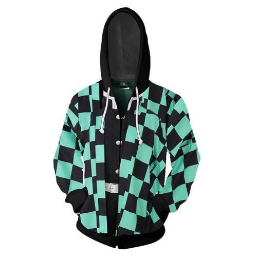 Unisex Demon Slayer: Kimetsu No Yaiba Hoodies Kamado Tanjirou Cosplay Zip Up Jacket Sweatshirt