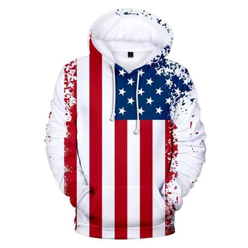 Usa American Paint Splatter Flag Hoodie