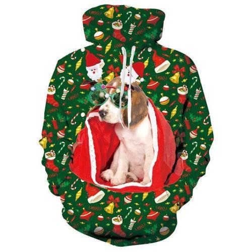 Mens Green Hoodies Christmas Dog 3D Graphic Printing Sweatshirt