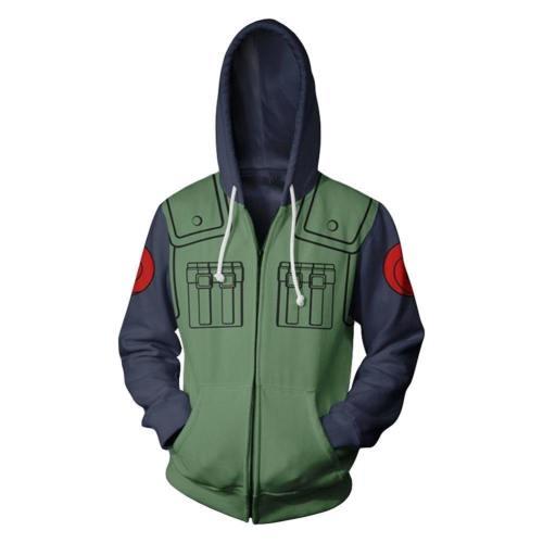 Unisex Kakashi Hoodies Naruto Zip Up 3D Print Jacket Sweatshirt