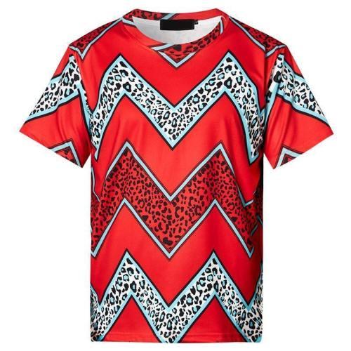 Mens T Shirt Wavy Stripes Printing Pattern Tee
