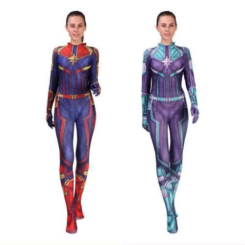 Captain Marvel Carol Danvers Costume Women Superhero Bodysuit Jumpsuit