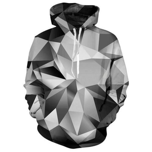 Mens Hoodies 3D Printing Diamond Printed Pattern Hooded