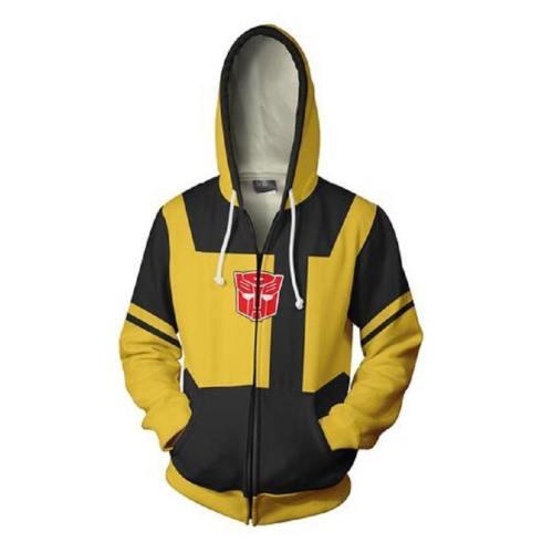 Unisex Bumblebee Hoodies Transformers Zip Up 3D Print Jacket Sweatshirt