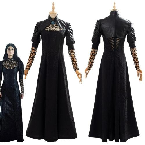 The Witcher Yennefer Party Black Long Dress Cosplay Costume