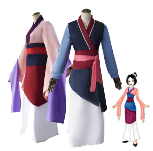 Princess Hua Mulan Blue Red Dress Kids Adult Cosplay Stage Costumes