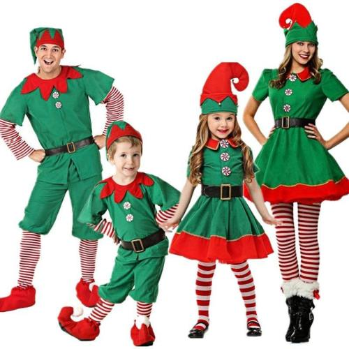 Christmas Elves Costumes Women Christmas Halloween Costume Long Sleeve Green And Red Girl Elf Dress Kids Christmas Costumes